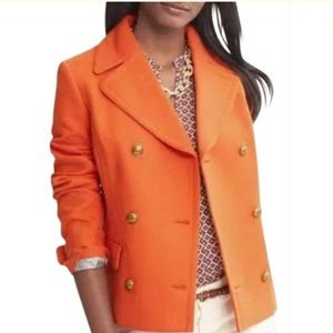 BR Cotton Orange Pea Coat